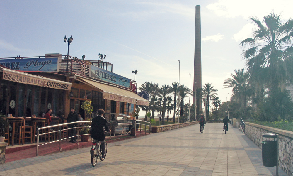 Fietsroutes in Malaga richting oosten